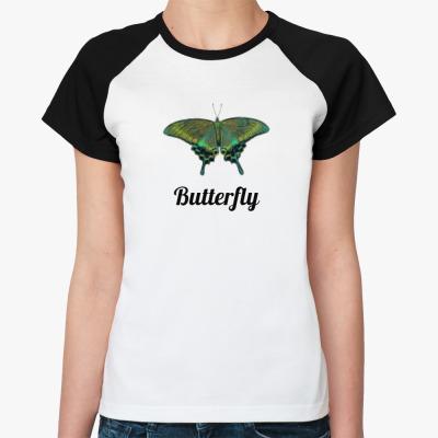 Женская футболка реглан Бабочка Парусник - Махаон
