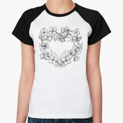 Женская футболка реглан Жасминовое сердце