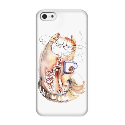 Чехол для iPhone 5/5s Кот и кофе