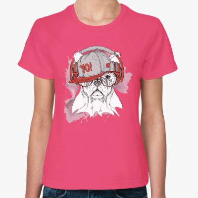 Женская футболка Собака в наушниках