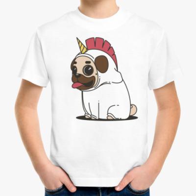 Детская футболка Мопс Единорог