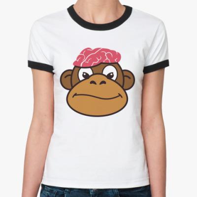 Женская футболка Ringer-T  Обезьяньи мозги