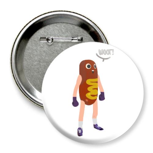 Значок 75мм Hot Dog Man
