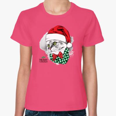 Женская футболка Новогодняя Кошка