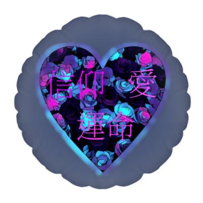 Подушка Вера, любовь, судьба (японские иероглифы)