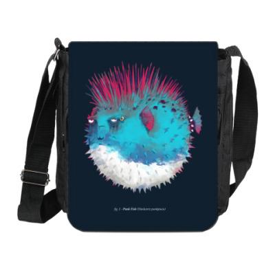 Сумка на плечо (мини-планшет) Брутальная рыба панк Punk fish