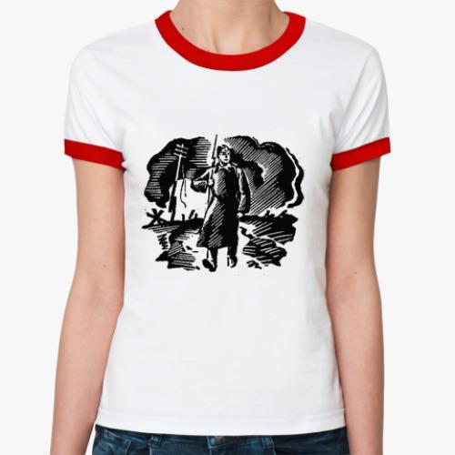 Женская футболка Ringer-T Солдат на посту