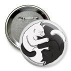 Значок 75 мм Черный и белый кот инь-ян