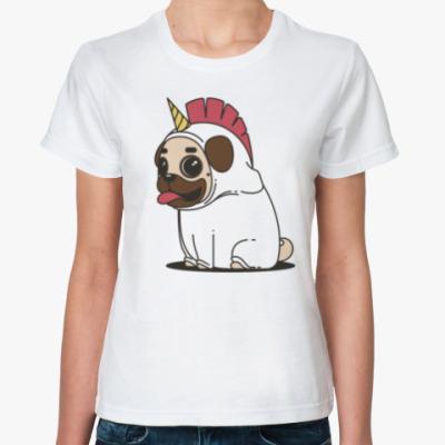 Классическая футболка Мопс Единорог
