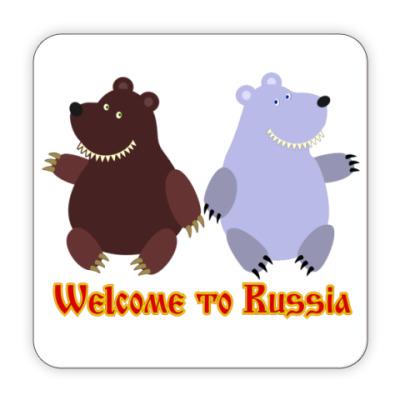 Костер (подставка под кружку) Welcome to Russia!