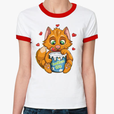 Женская футболка Ringer-T Рыжий кот