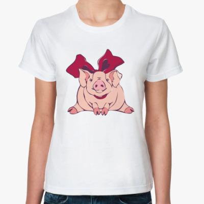 Классическая футболка Свинка с бантом