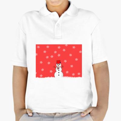 Детская рубашка поло Снеговик
