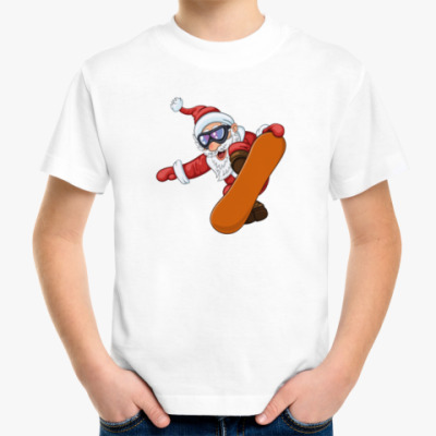 Детская футболка Санта Сноубордист