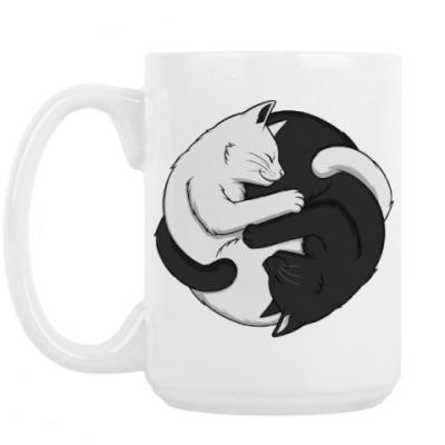 Кружка Черный и белый кот инь-ян
