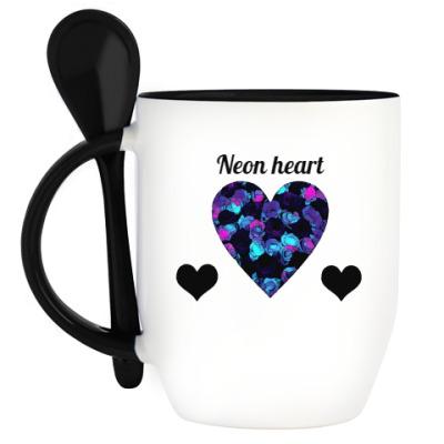 Кружка с ложкой Неоновое сердце