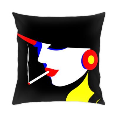 Подушка Стильная девушка в стиле поп арт